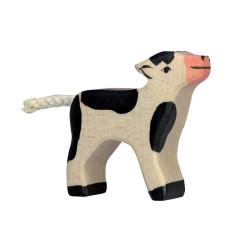 Ternerito blanco y negro - Animal de granja de madera
