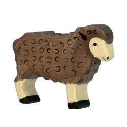 Oveja marrón oscura - animal de madera