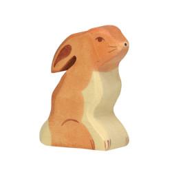 Liebre sentada - animal de madera
