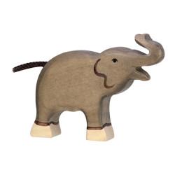 Elefante pequeño con la trompa arriba - animal de madera