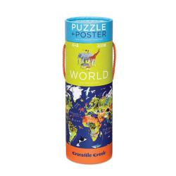 Puzzle y póster Mundo y animales - 200 pzas.