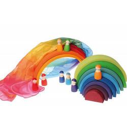 Tela de seda para jugar en colores arco iris