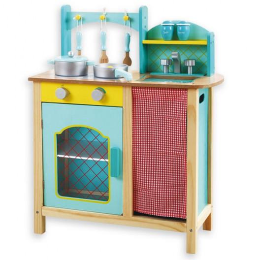 Cocina de madera Azul con accesorios