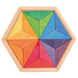 Mini puzzle creativo de madera estrella de colores complementarios