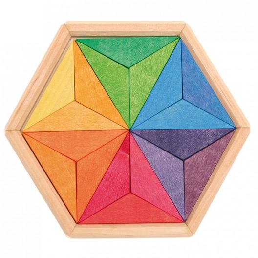 Mini puzle creatiu de fusta estrella de colors complementaris
