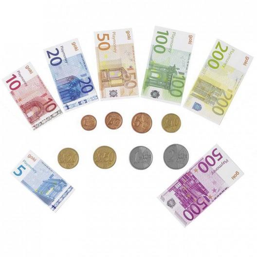Dinero de juguete, monedas y billetes