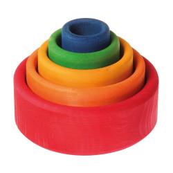 Cubos apilables de colores arco iris de madera - rojo a azul