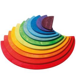 Semicirculos de madera tamaño grande colores arco iris