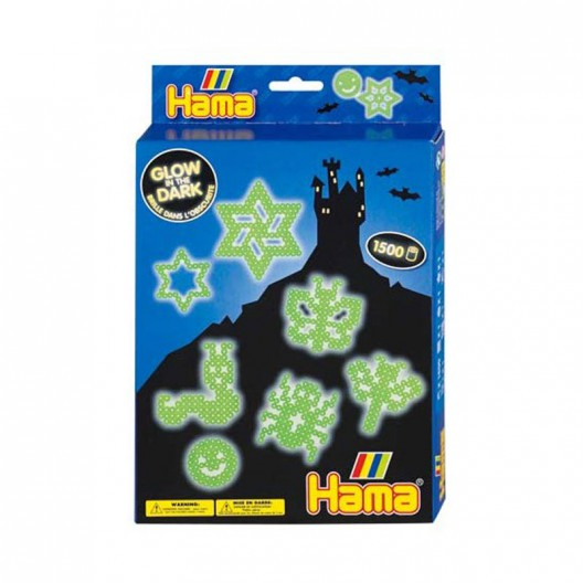 Caja regalo Brilla en la oscuridad- 1500 perlas Hama MIDI
