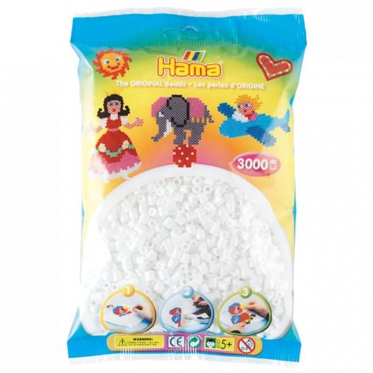 3000 perlas Hama MIDI de color blanco (bolsa)