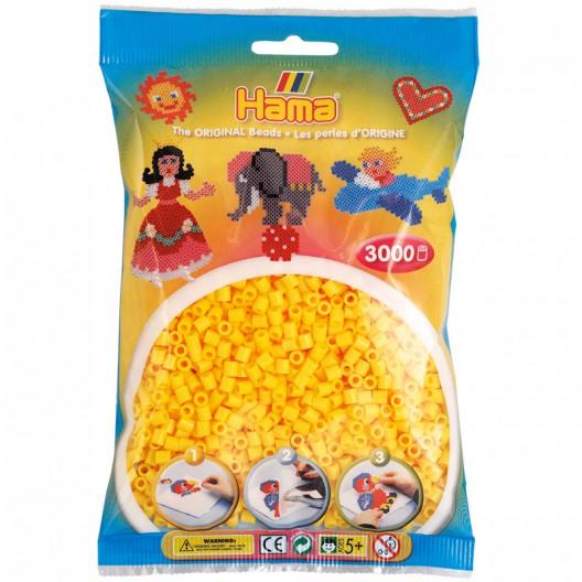 3000 perlas Hama MIDI de color amarillo (bolsa)