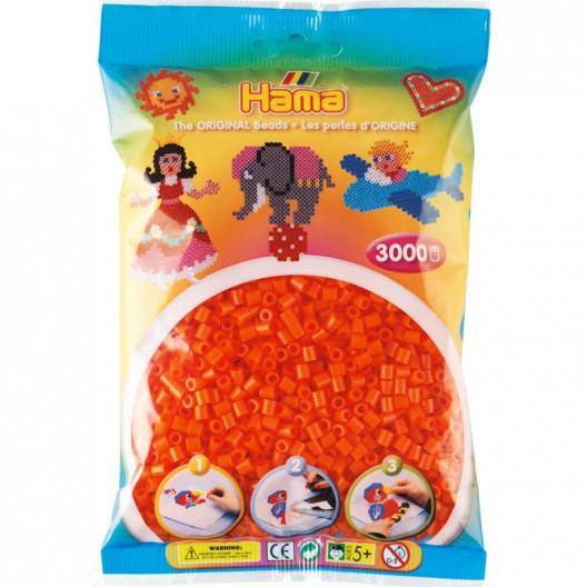 3000 perlas Hama MIDI de color naranja (bolsa)