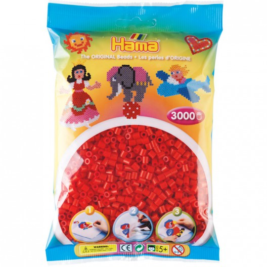 3000 perles Hama MIDI de color vermell (bossa)