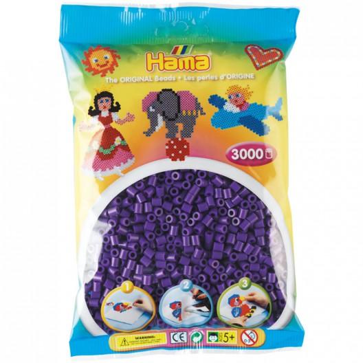 3000 perlas Hama MIDI de color violeta (bolsa)