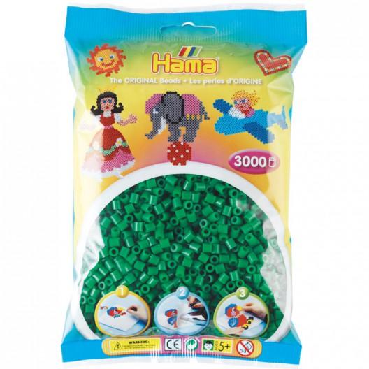 3000 perlas Hama de color verde (bolsa)