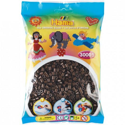 3000 perlas Hama MIDI de color marrón (bolsa)