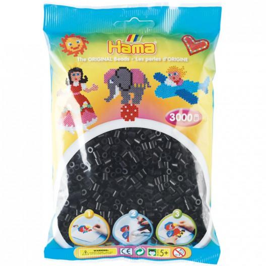 3000 perles Hama MIDI de color negre (bossa)