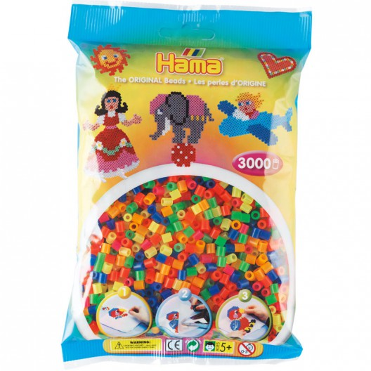 3000 perlas Hama MIDI colores transparentes neón (bolsa)