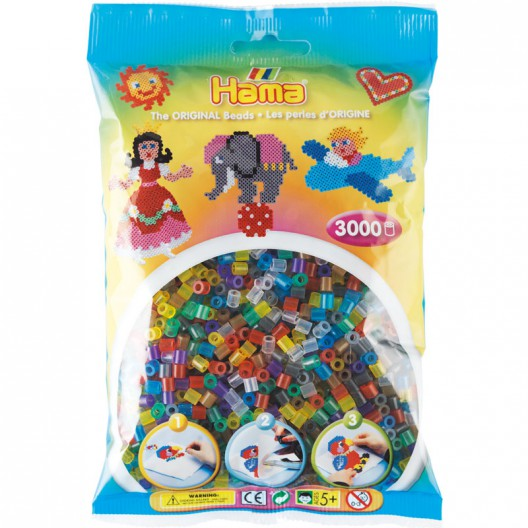 3000 perlas Hama MIDI colores transparentes (bolsa)