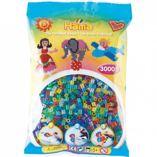 3000 perlas Hama MIDI colores transparentes purpurina (bolsa)