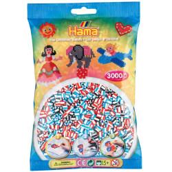 3000 perlas Hama bicolor blanco mix 3 (bolsa)