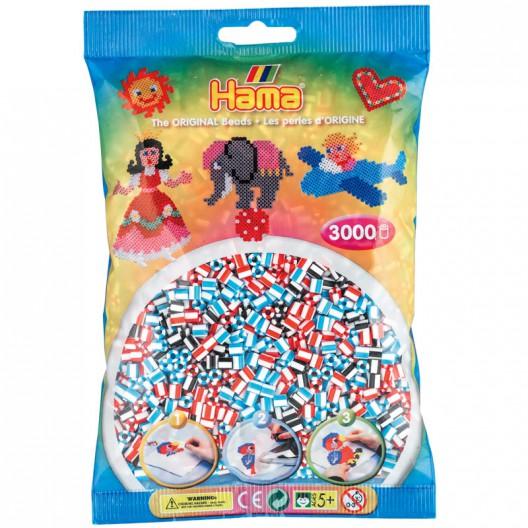 3000 perles Hama MIDI bicolor blanc mix 3 (bossa)