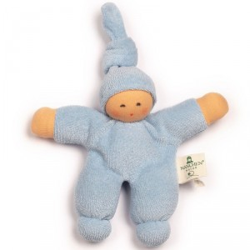 Muñeco Pimpel de algodón orgánico azul claro