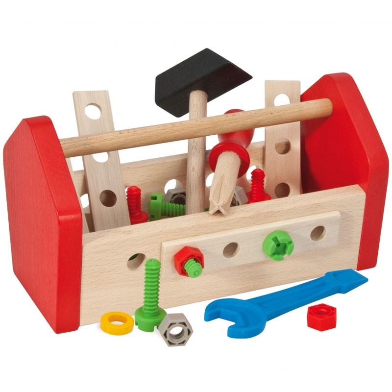 Caja de herramientas de juguete mesa para la cama for Mesa herramientas