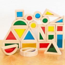 Bloques Sensoriales de madera colores arco iris