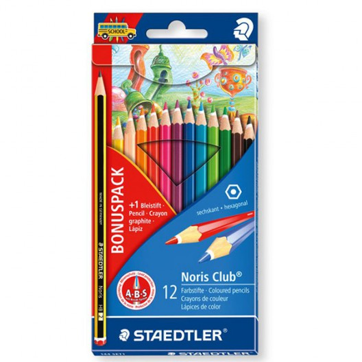 12 lápices de color + lapiz gratis