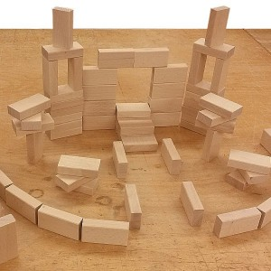 64 cubos de madera de construcción - medida 33 1/3 mm