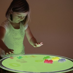 Mesa de Luz Led portátil redonda Colores - portátil 70cm