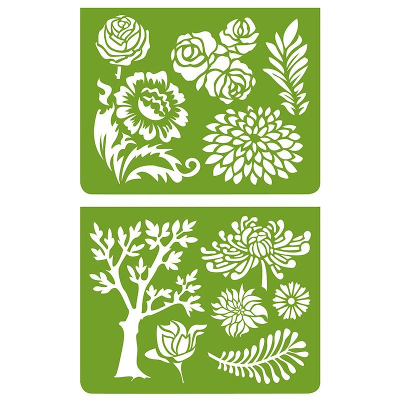 Plantillas para estarcir vegetaci n djeco djc 39743 - Plantillas de letras para pintar en madera ...