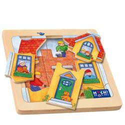 Mi casa - Puzzle de descubrimiento de madera natural 8 piezas