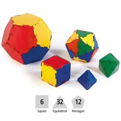 Polydron set para construir Sólidos Platónicos - 50 piezas geométricas