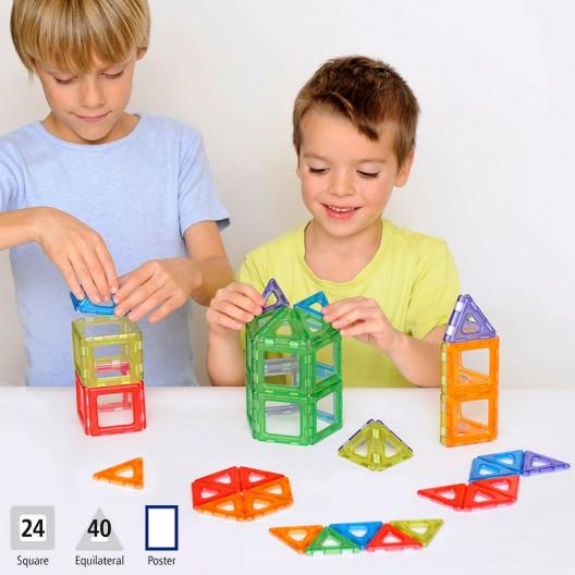 Magnetic Polydron 64 piezas imantadas traslúcidas - juguete de formas geométricas