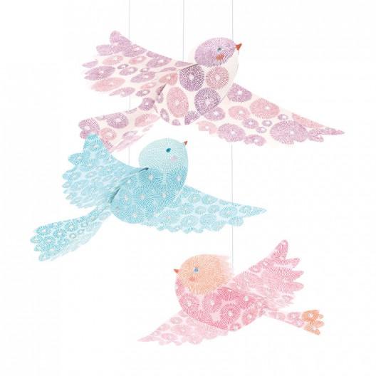 Mini móvil colgante - Pájaros de purpurina