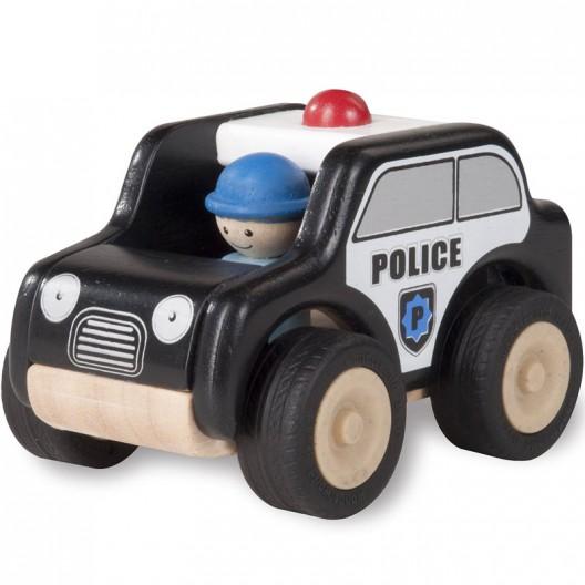 Mini coche policia de madera