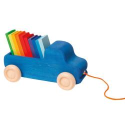 Arrastre de madera Camión Azul con tabletas arco iris