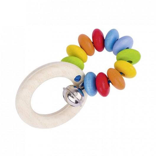 Sonajero anilla arco iris con cascabel