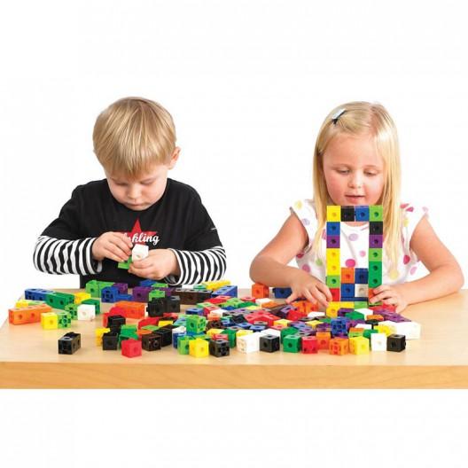1000 Cubos encajables matemáticos multilink 2x2cm en 10 colores - set para el aula