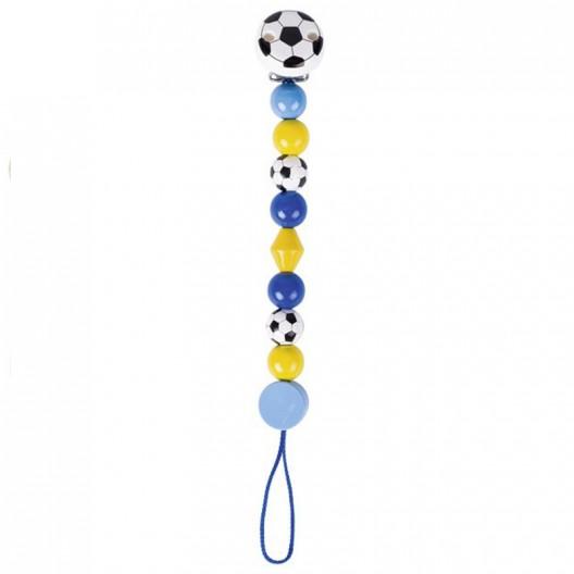 Cadenita de madera para chupete fútbol - azul
