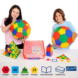 Polydron 184 piezas para el aula - juguete de formas geométricas