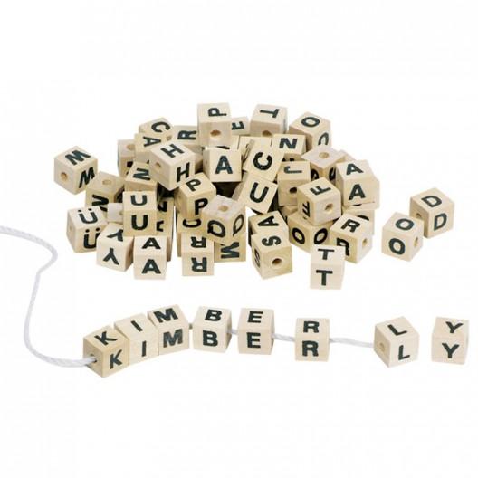 300 Cubos con letras de madera natural