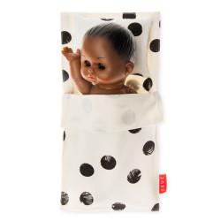 Mini saco de dormir de algodón orgánico - Lunares negros