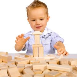 Bloques naturales de madera 50 piezas
