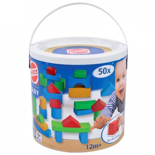 Bloques de madera para bebés - 50 piezas