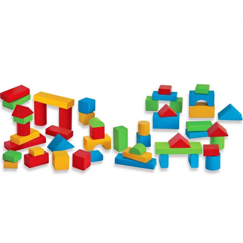 Bloques de madera para beb s 50 piezas for Piezas para bebes