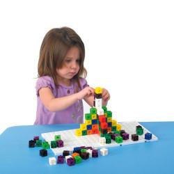 100 Cubos encajables matemáticos multilink 2x2cm en 10 colores