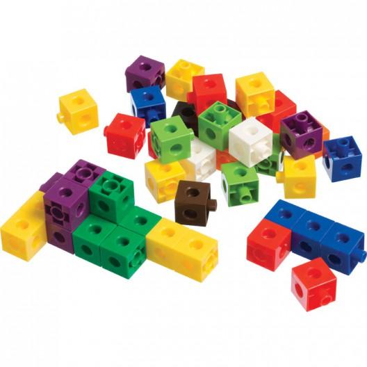 100 Cubs encaixables matemàtics multilink 2x2cm en 10 colors
